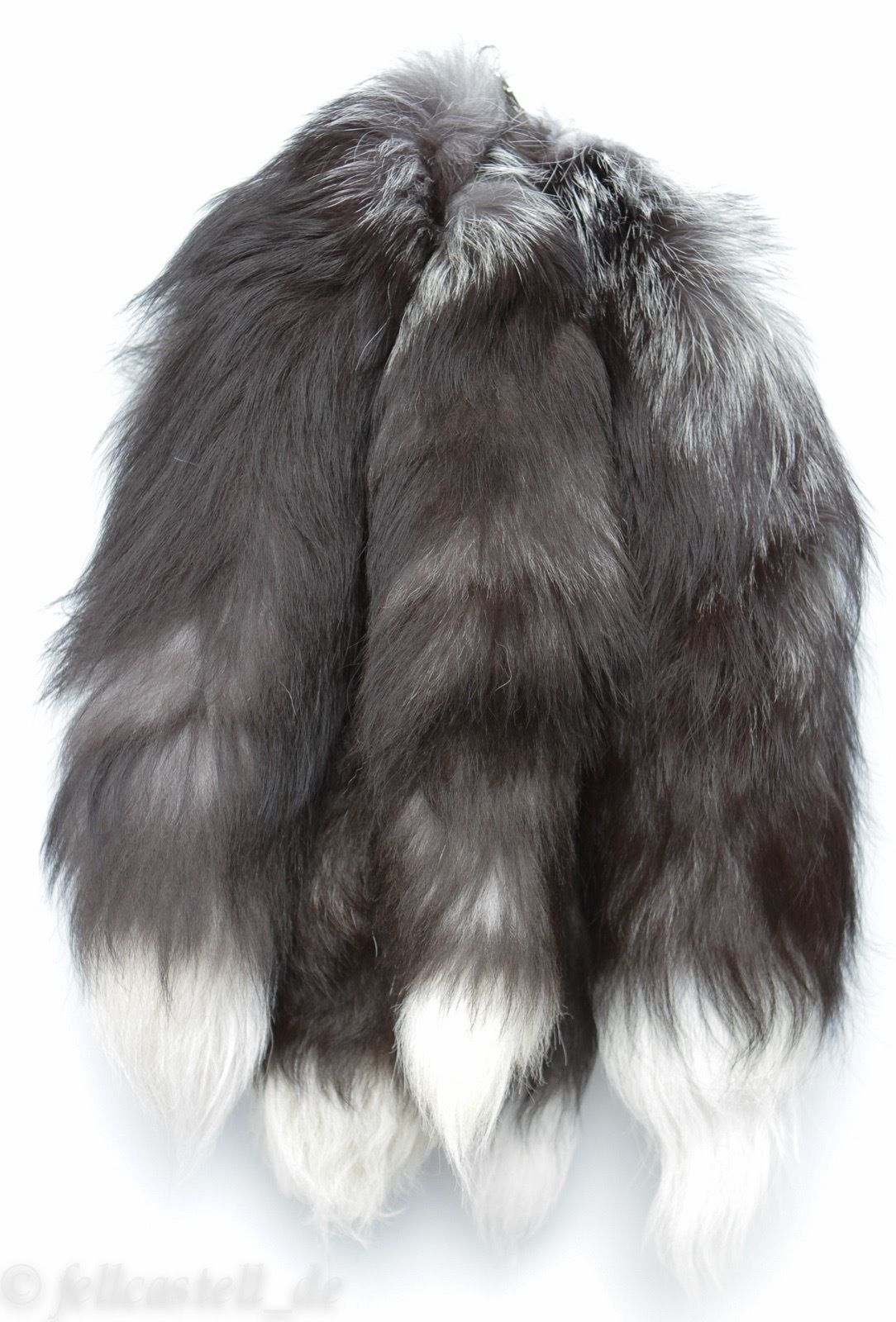 Silberfuchs Schweif Schwanz Rute Fuchsschwanz Fuchsschweif ca 45 cm mit Karabiner