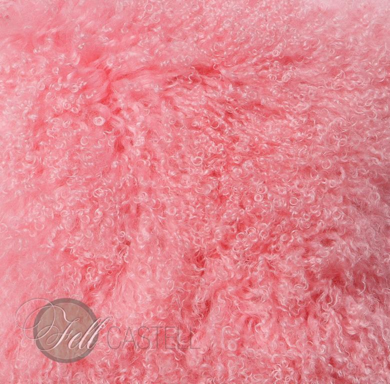 Tibet Lammfell Light Pink Rosa Tibetlammfell Tibetlamm fein gelockt 100 x 50 cm 100 x 50 cm