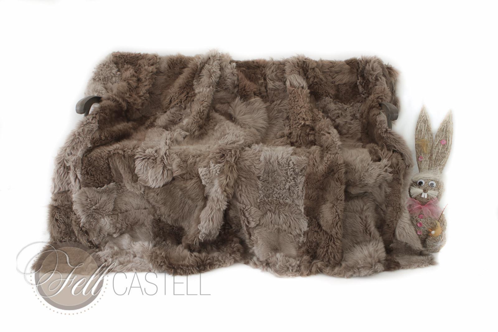 Toscana Lammfelldecke 200 x 155 cm Rückseite Leder Braun Brisa Tops Patchwork