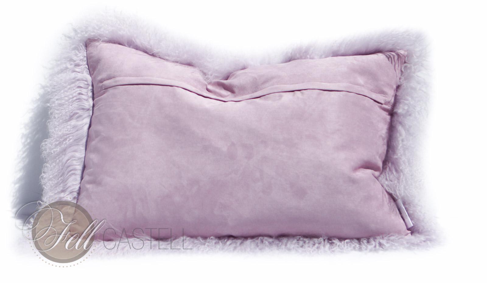 Kissen Tibetlammfell 60 x 40 cm Lavender Fog Fellkissen Tibet Lammfell Mongolisches Lammfell