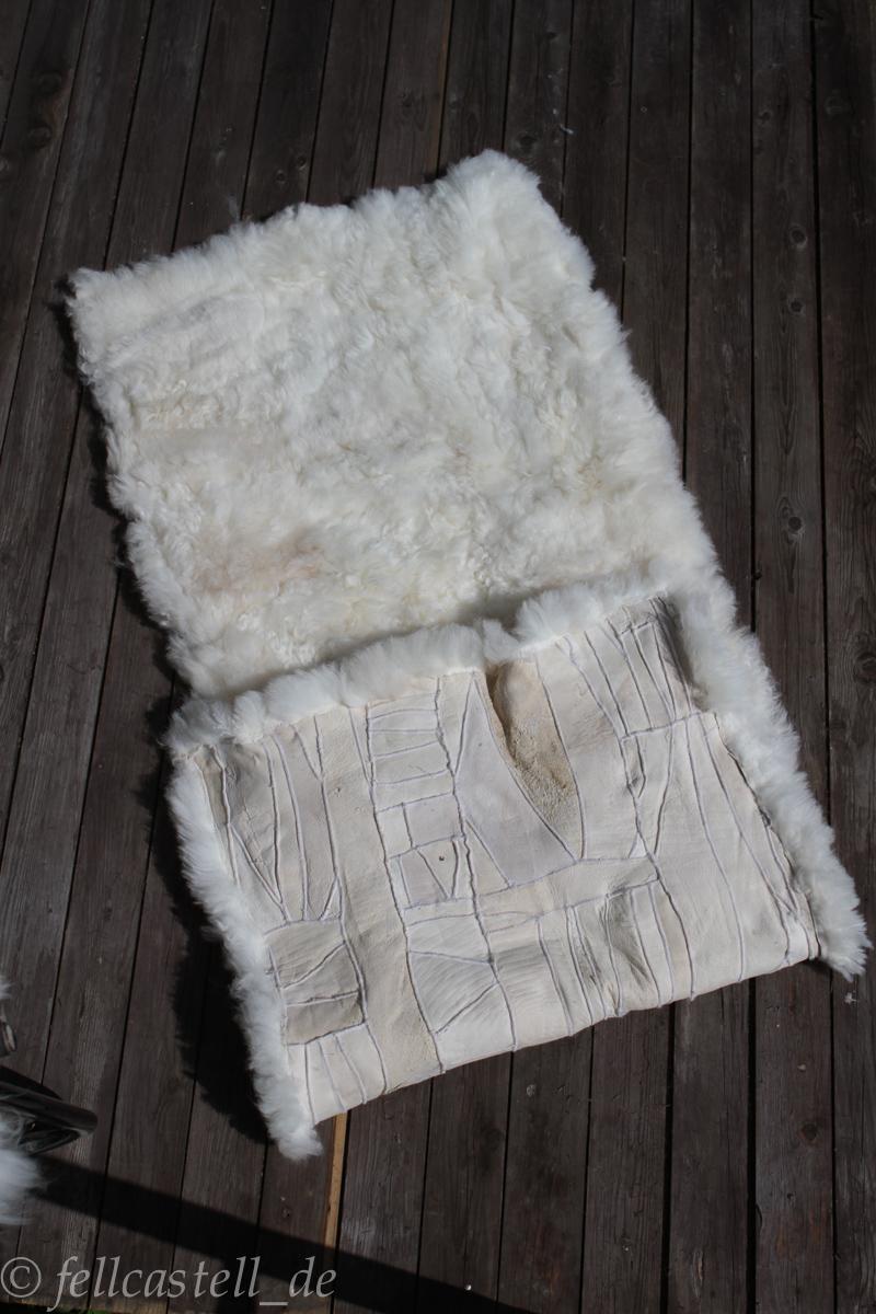 Schaffell Lammfell Teppich naturweiss 160 x 60 cm