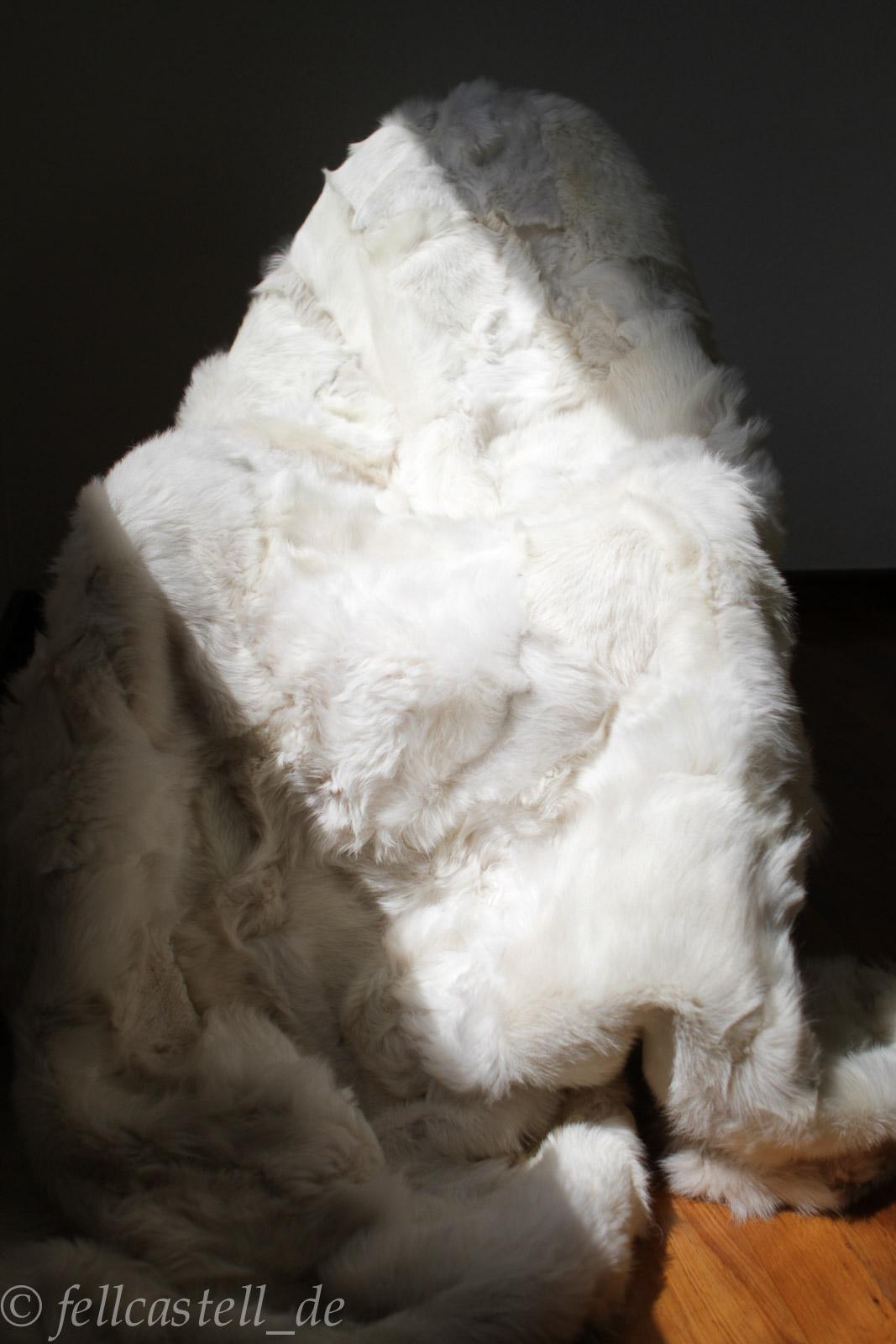 Lammfelldecke 200x155 cm Weiss Toscana Lammfell Rückseite Leder