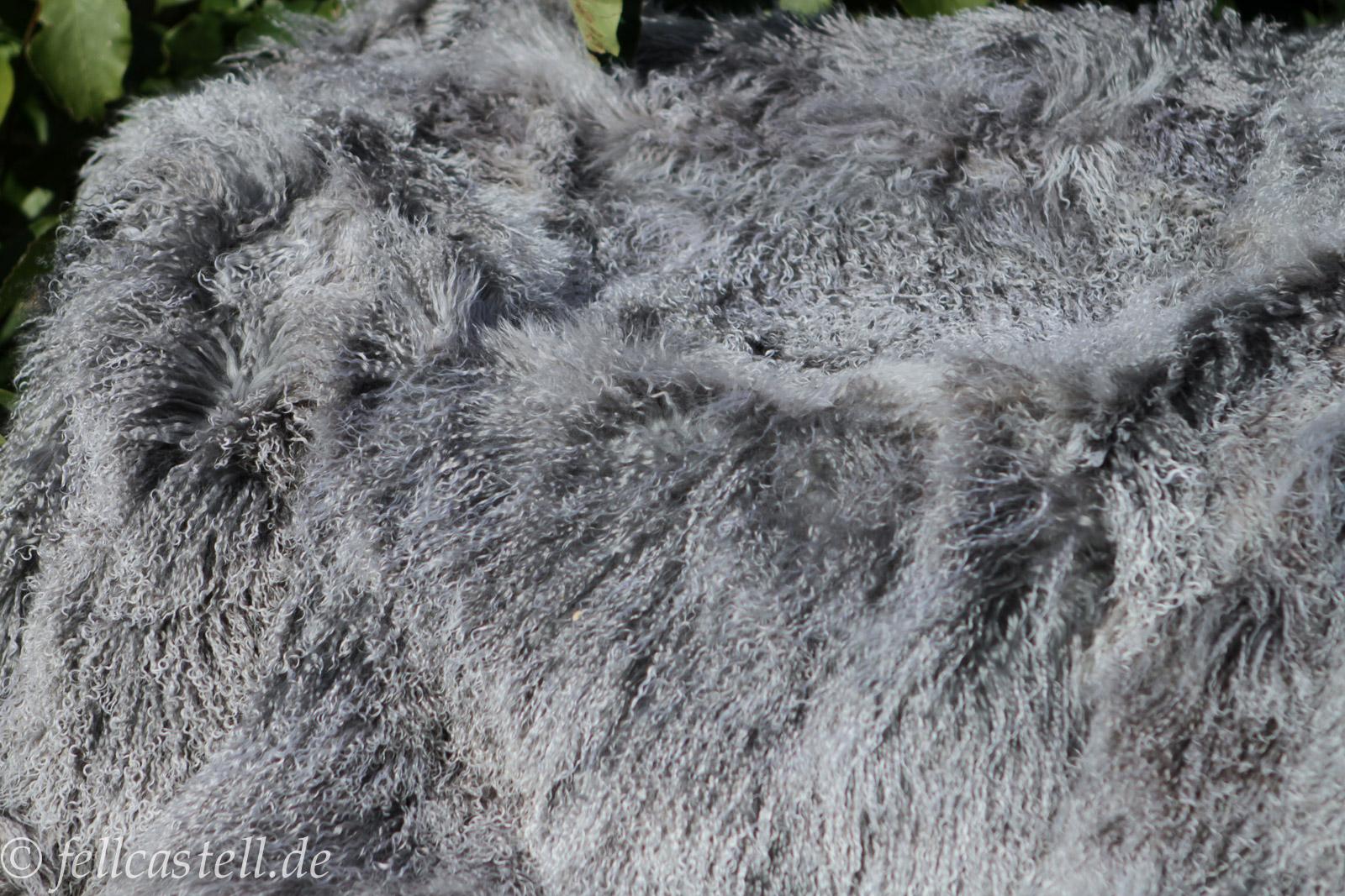 Lammfelldecke Tibet Lammfell 220 x 200 cm silbergrau abgefüttert