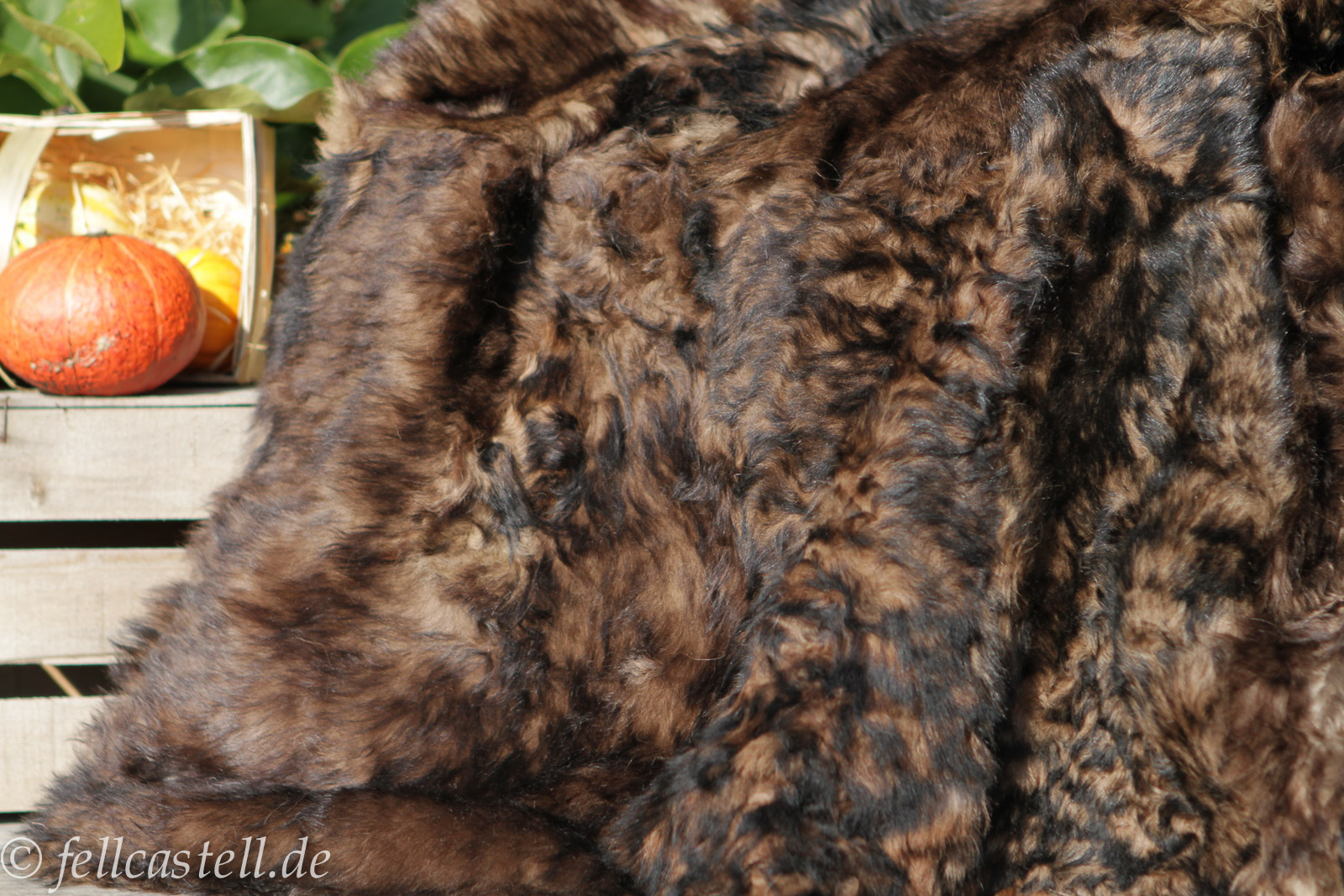 Lammfelldecke Toscana Lammfell 200 x 155 cm brauntöne #65
