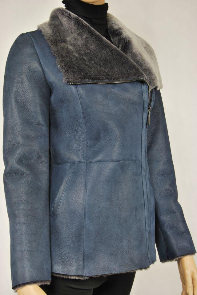 Lammfelljacke mit Reißverschluss blau