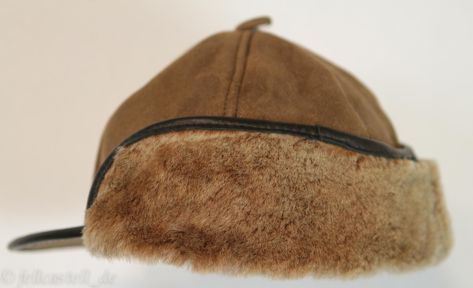 Schirmmütze aus Lammfell braun/braun