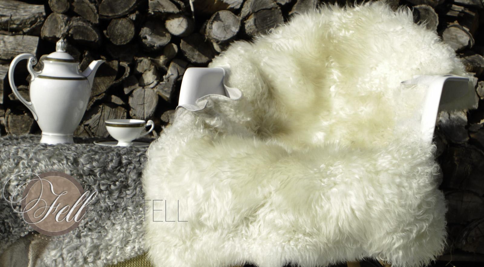 Skandinavisches Schaffell 122 x 72 cm weiß ungefärbt Lammfell