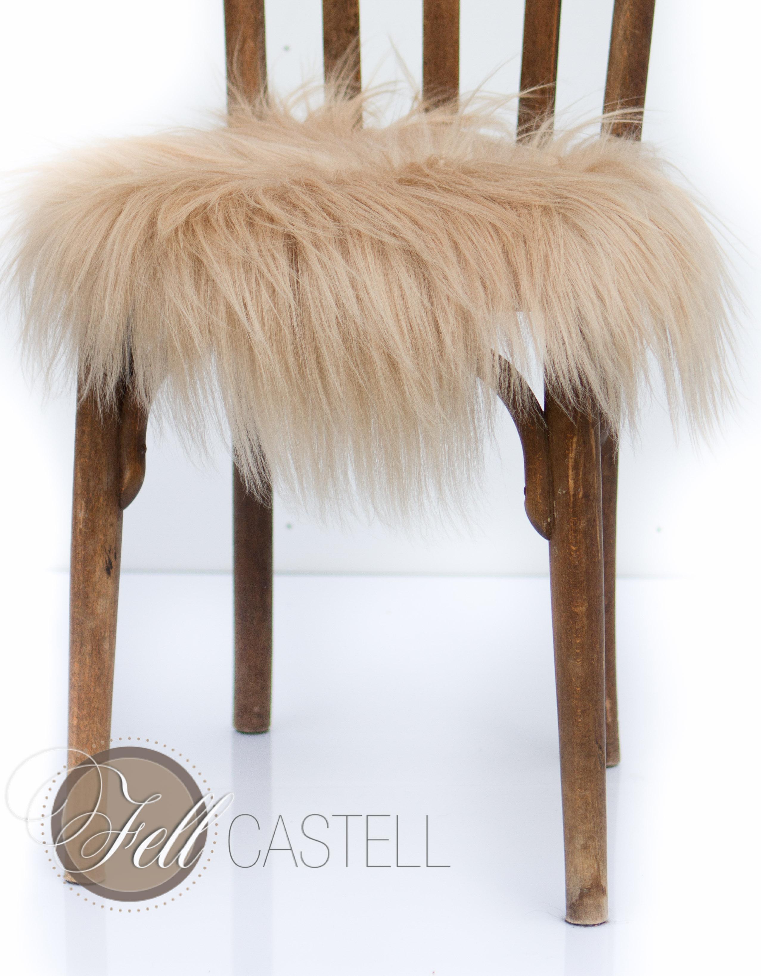 Fell Sitzauflage stuhlauflage aus island schaffell toffee ø 38 cm ungepolstert