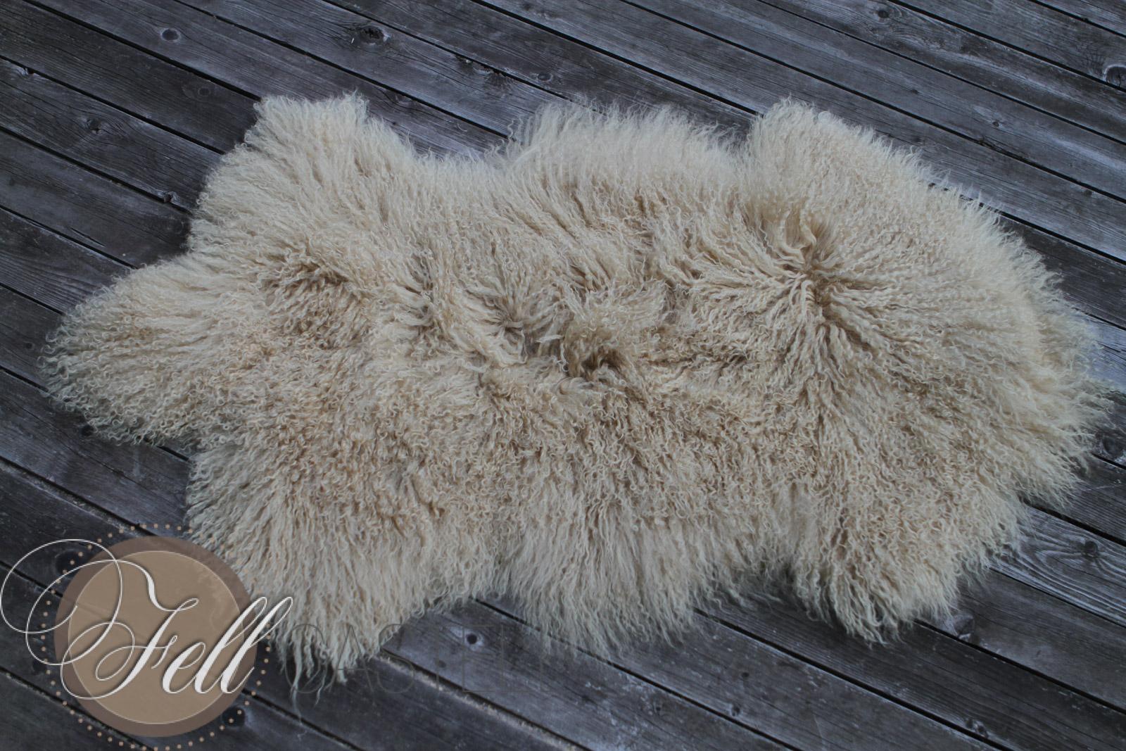 Tibet Lammfell Mongolisches Schaffell Beige 27 feine Locken