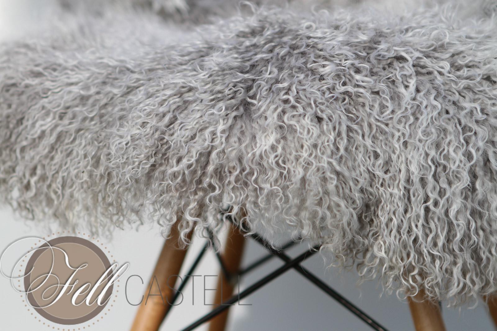 Tibetlammfell Silbergrau Grey with Tops 85 x 45 cm