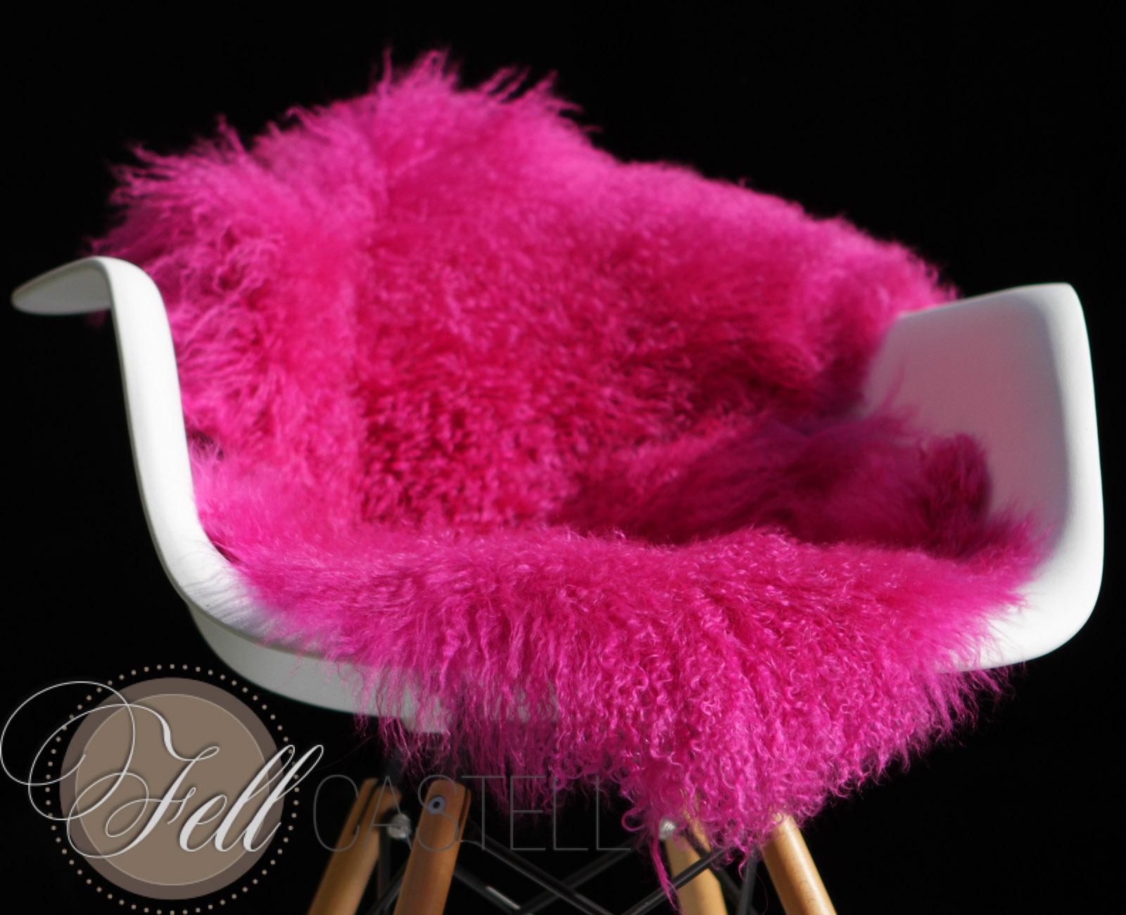 Tibetlammfell hot pink 105 cm Mongolisches Lammfell