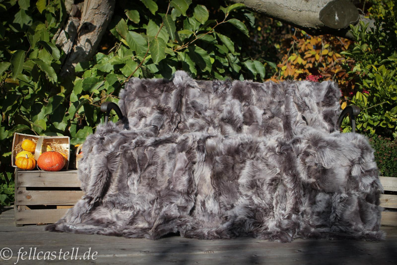 Toscana Lammfelldecke 210x200 cm Taupe / Snow Tops abgefüttert Patchwork
