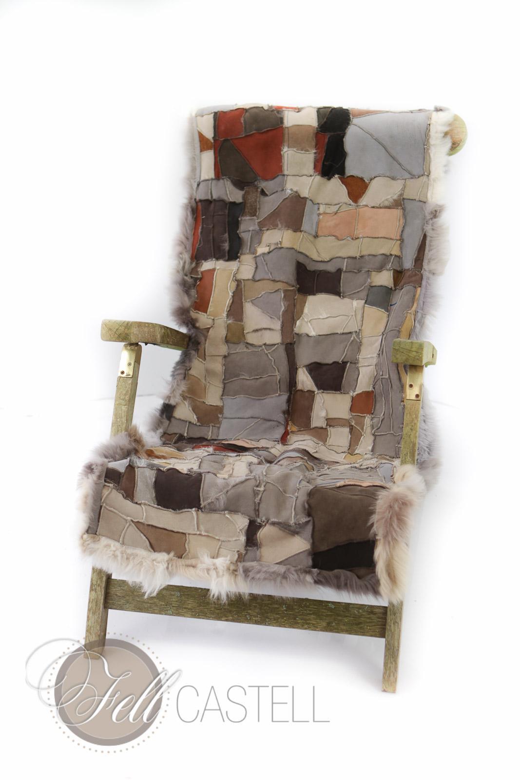 kleine Lammfell Decke 155x55 cm Multicolor Patchwork Rückseite Leder Lammfellteppich