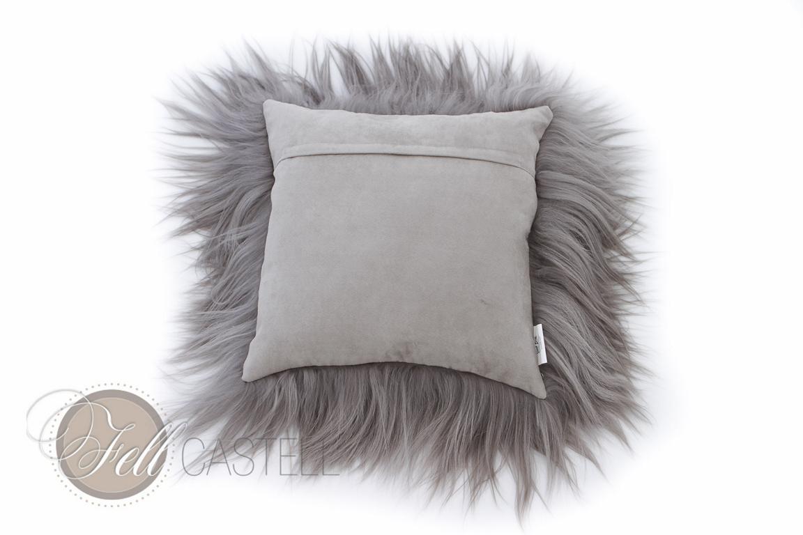langhaariges Ziegenfell Kissen (Kissenhülle) Grau 40 x 40 cm