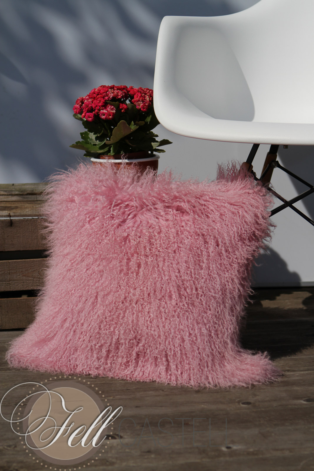 kissen tibet lammfell rose quarz r ckseite aus stoff ca 30 x 30 cm sofakissen lammfell. Black Bedroom Furniture Sets. Home Design Ideas