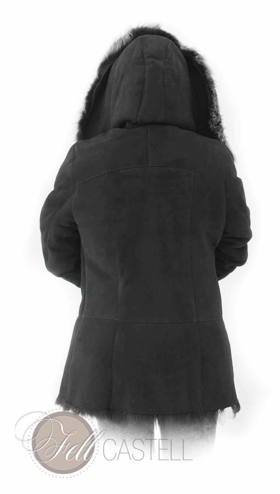 Lammfelljacke Damen Gr. 38 Schwarz Toscana Lammfell Kapuzenjacke
