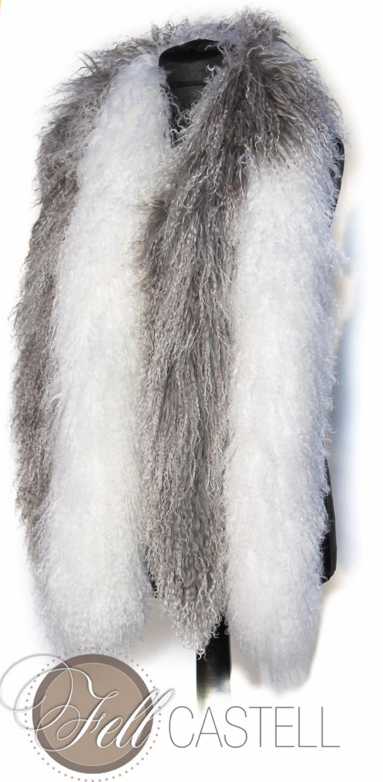 Schal, Stola, Boa aus Tibetlammfell Schnee Weiss
