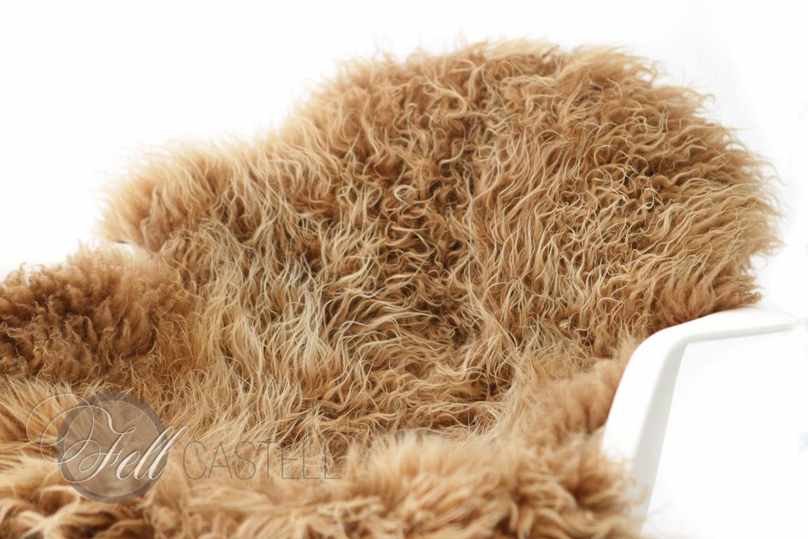 Skandinavisches Schaffell Braun mit hellen Spitzen naturfarben 97x68 cm