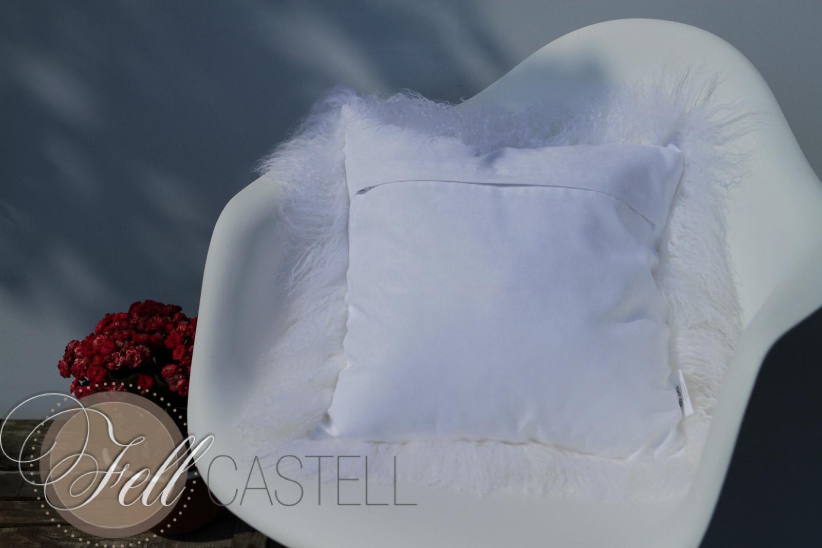 Tibet Lammfell Kissen Schnee-Weiß Tibetfell Sofakissen Zottelkissen