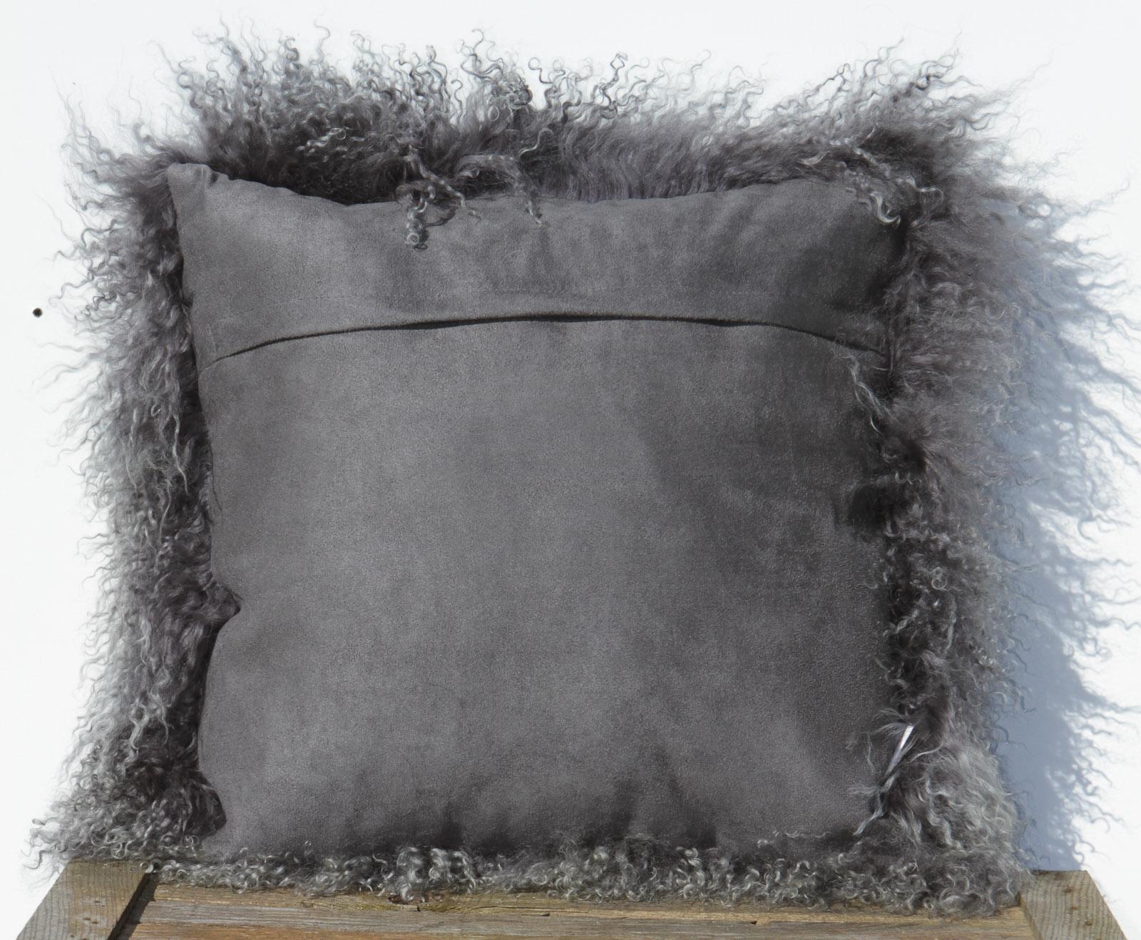 Tibet Lammfell Kissen Zottelkissen Sofakissen Fellkissen Schiefergrau 40 x 40 cm 40 x 40 cm