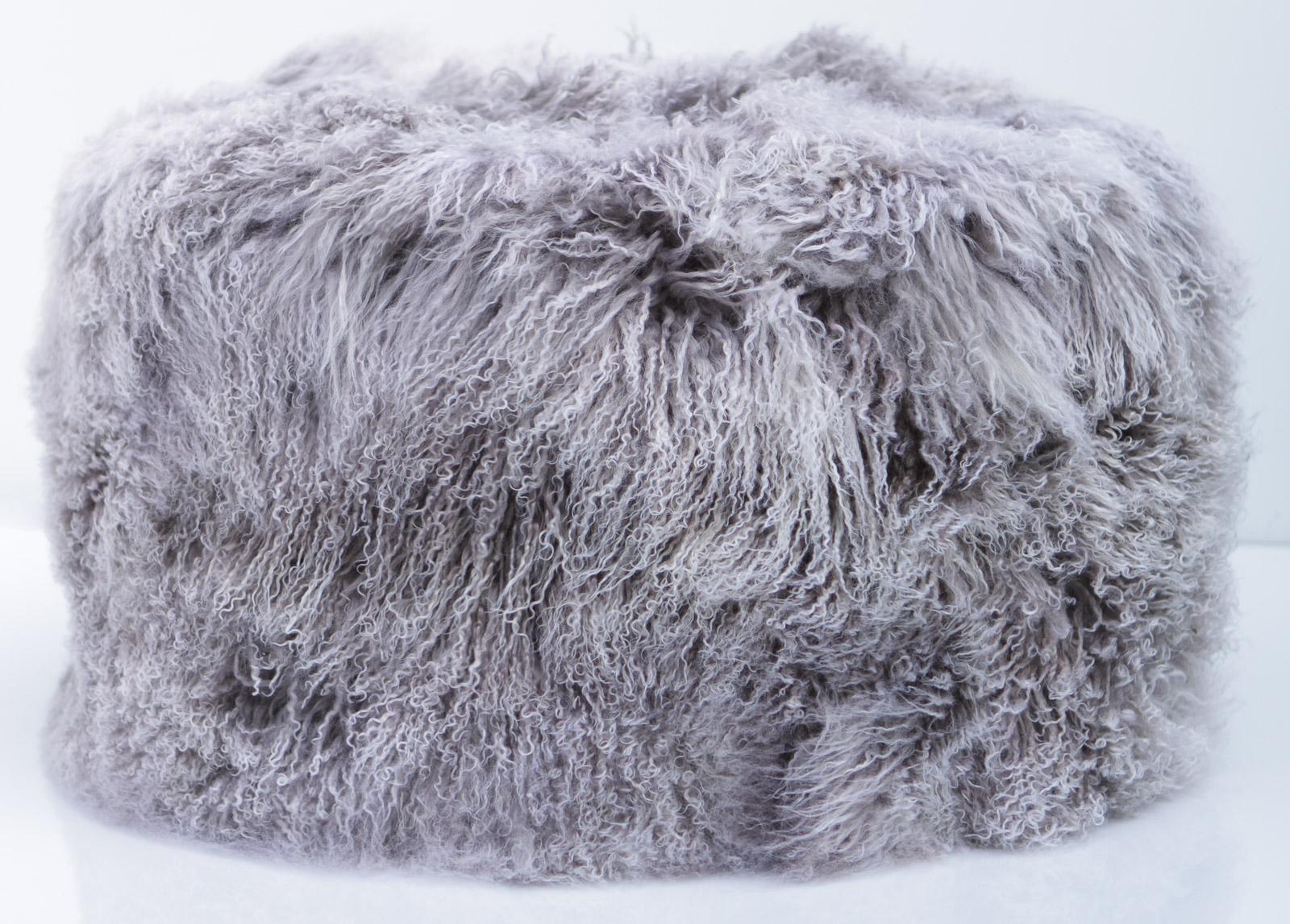 Tibet Lammfell Pouf 60 cm Durchmesser Tibetlammfell