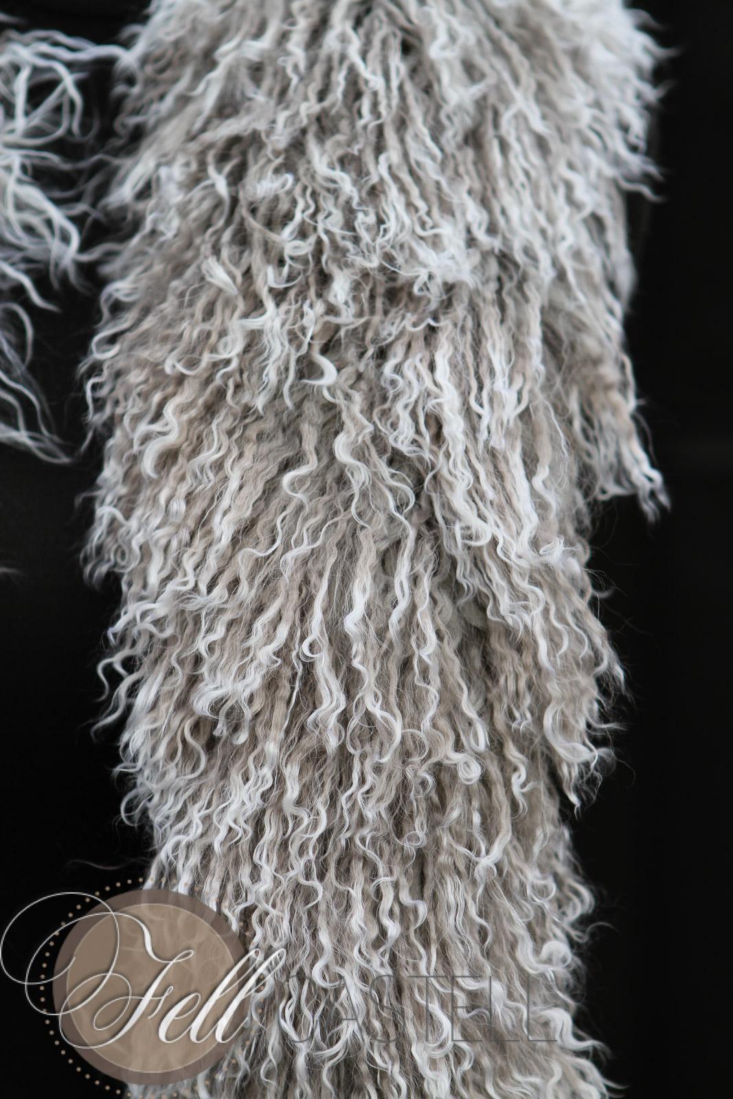 Tibetlammfell Boa silbergrau Stola Schal Mongolisches Lammfell grau mit snow tops