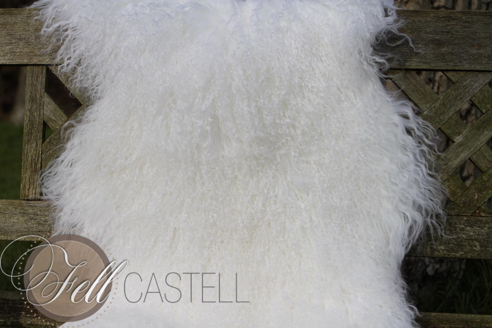 Tibetlammfell Mongolisches Lammfell schnee-weiß 85 cm