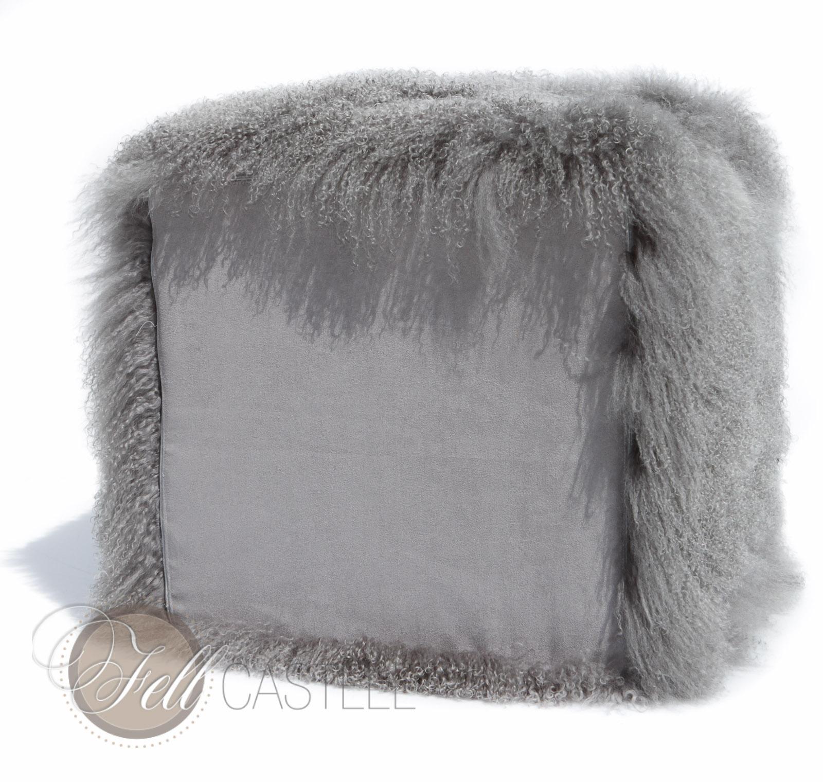 Würfel aus Tibet Lammfell stone grey Tibetlammfell Cube Grau