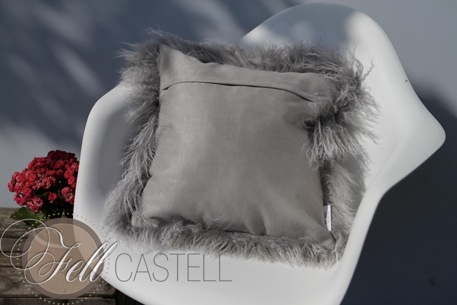 Kissen Tibet Lammfell Silbergrau 50 x 50 cm Silbergrau | 50 x 50 cm