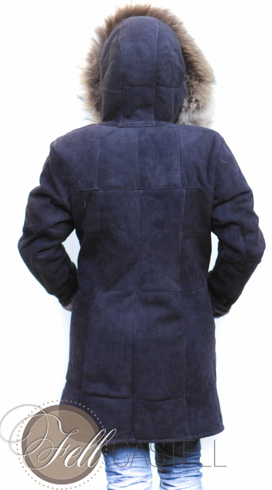 Lammfelljacke Damen Gr. 42/44 Velourleder dunkelblau mit Kapuze