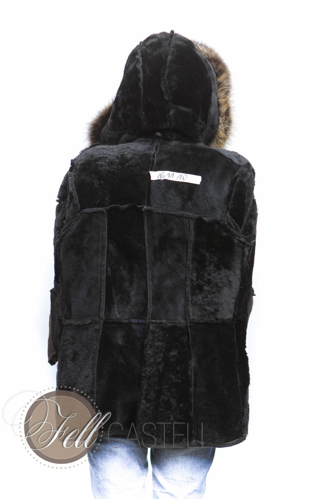 real lambskin hooded jacket women black