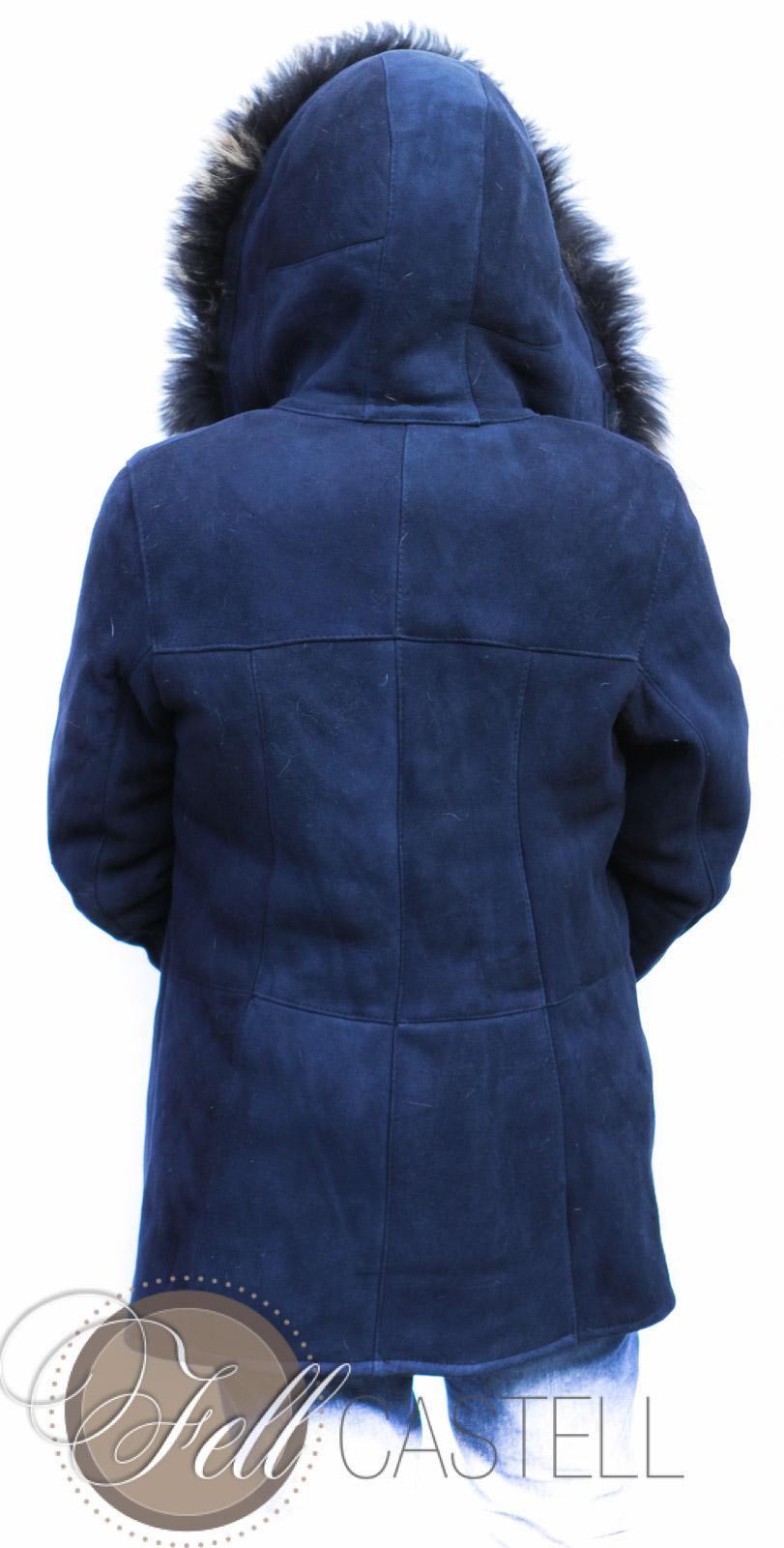 Lammfelljacke Damen Velourleder dunkelblau Lammfell Jacke mit Kapuze Gr. 38 blau | Gr. 38