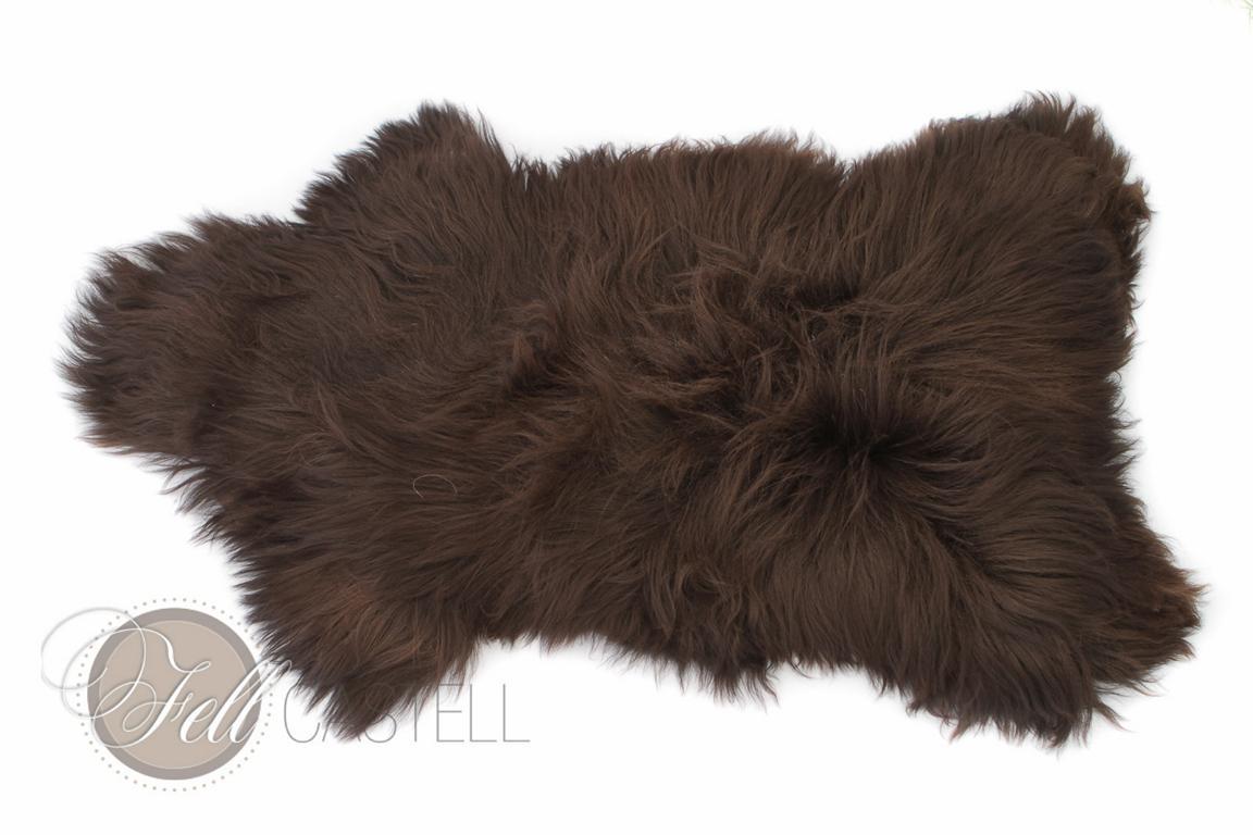 Schaffell Heidschnucke dark chocolate dunkel braun ungefärbt