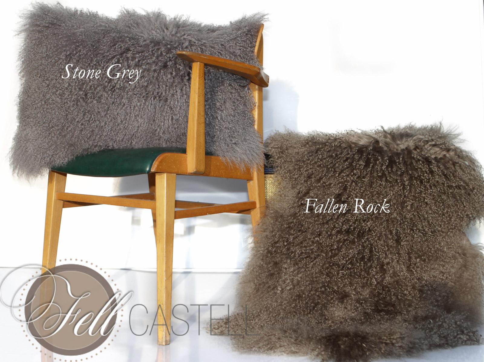 Kissen Tibet Lammfell Tibetlammfell Stone Grey Sofakissen Stein-Grau