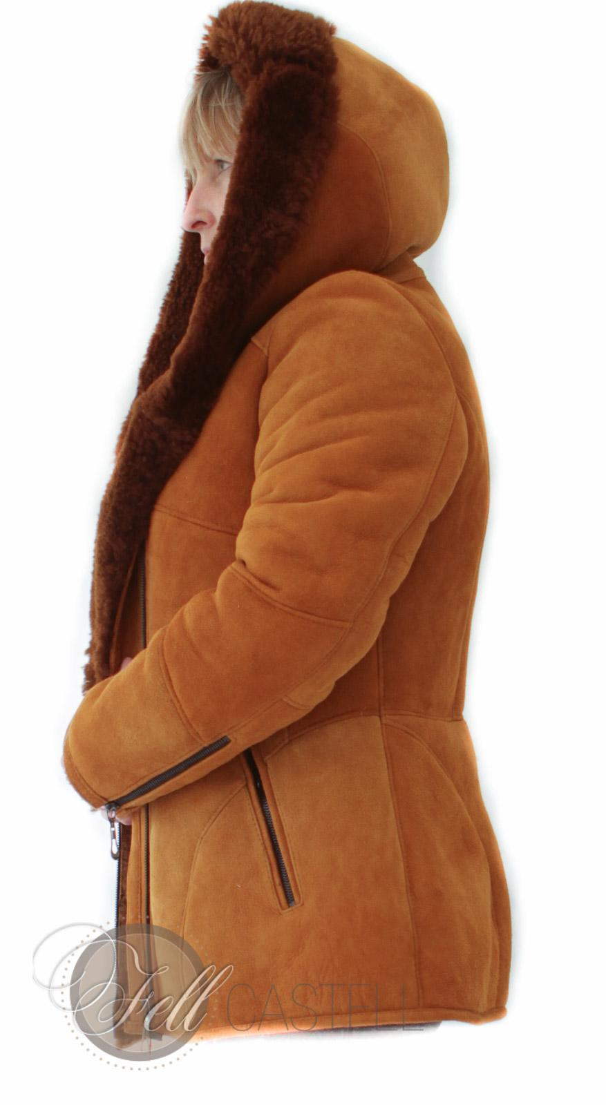 Lammfelljacke Damen Reißverschluss Kapuzenjacke Braun