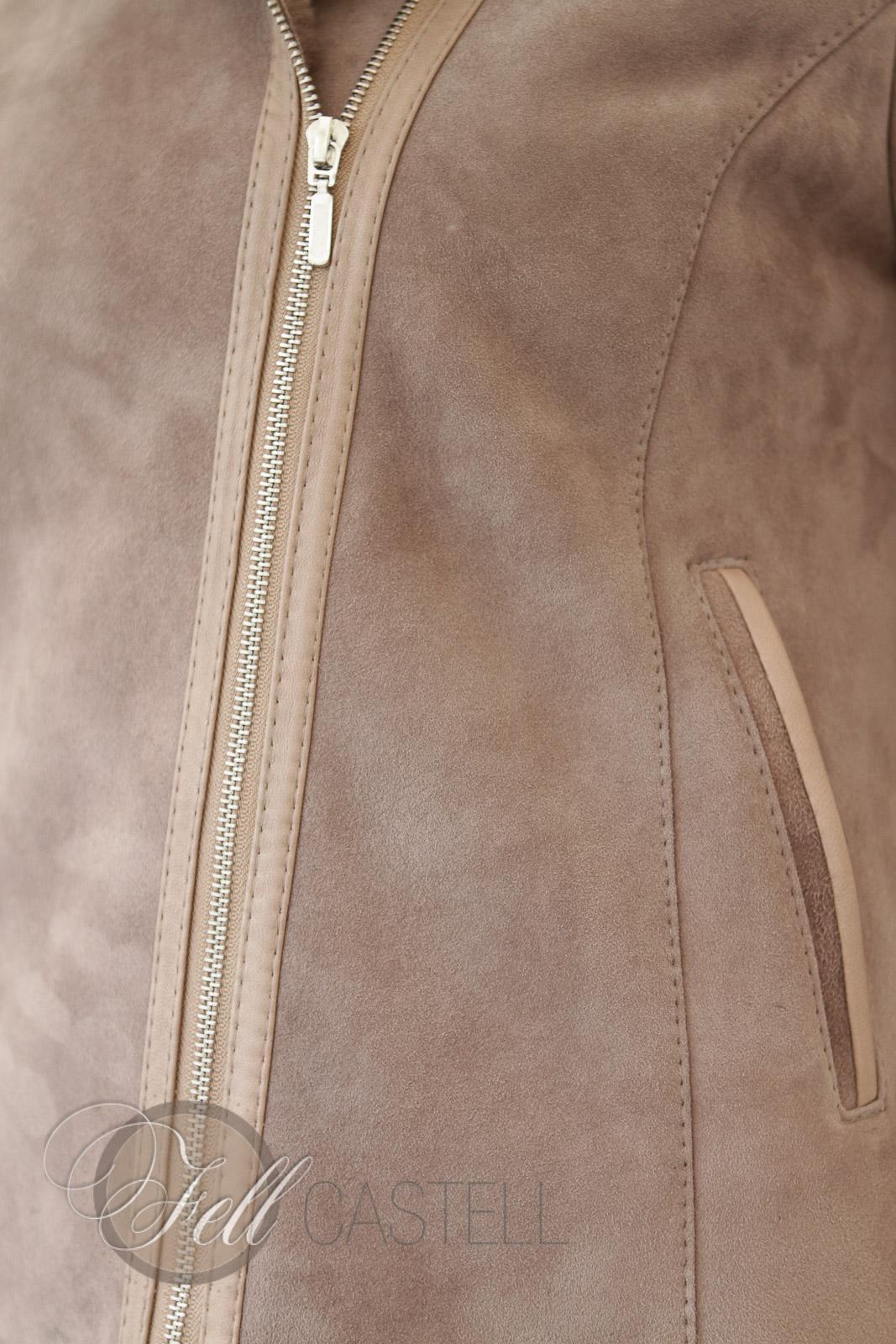 Lammfelljacke Damen Velourleder Beige Fell Braun kurz geschoren Kapuzenjacke mit Reißverschluss 38 / M 38 / M