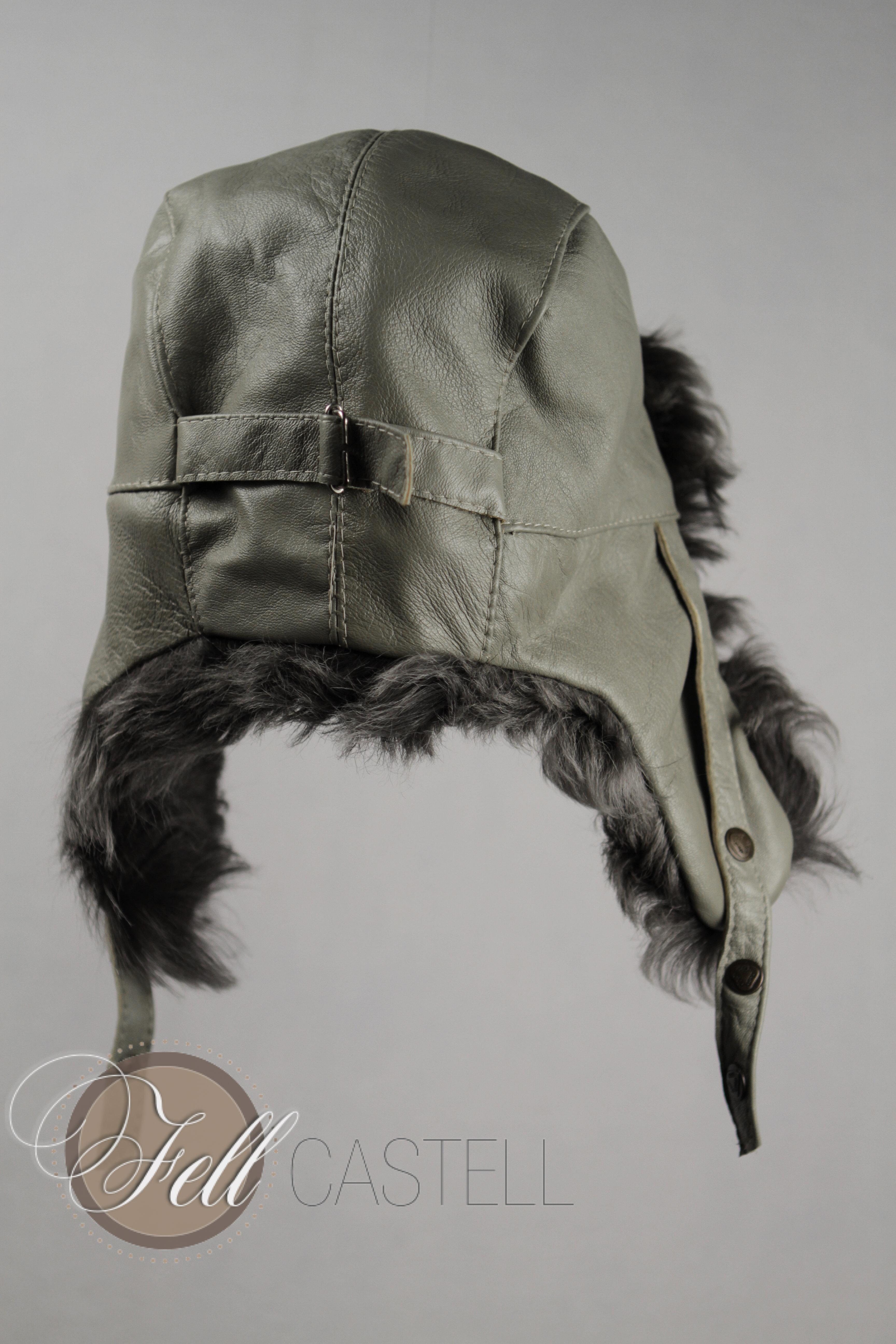 Lammfellmütze Trooper grau Gr. 56/57 Toscana Lammfell