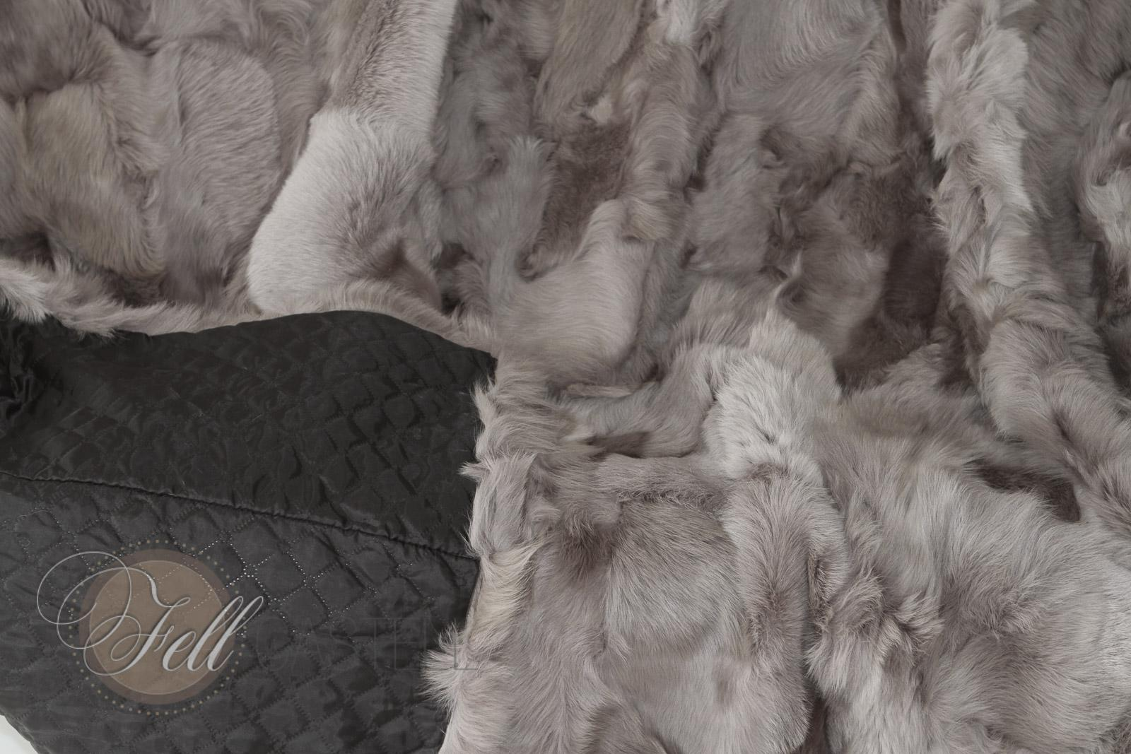 Real Toscana Shearling blanket 78x61 inch grey sheepskin throw
