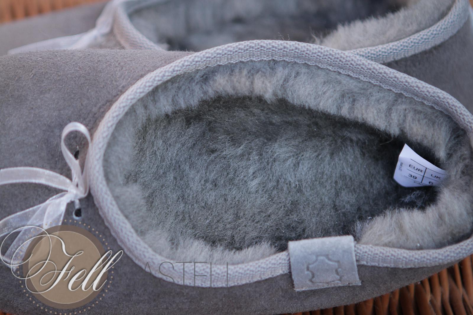 lammfell hausschuhe ballerinas grau lammfellschuhe damen. Black Bedroom Furniture Sets. Home Design Ideas