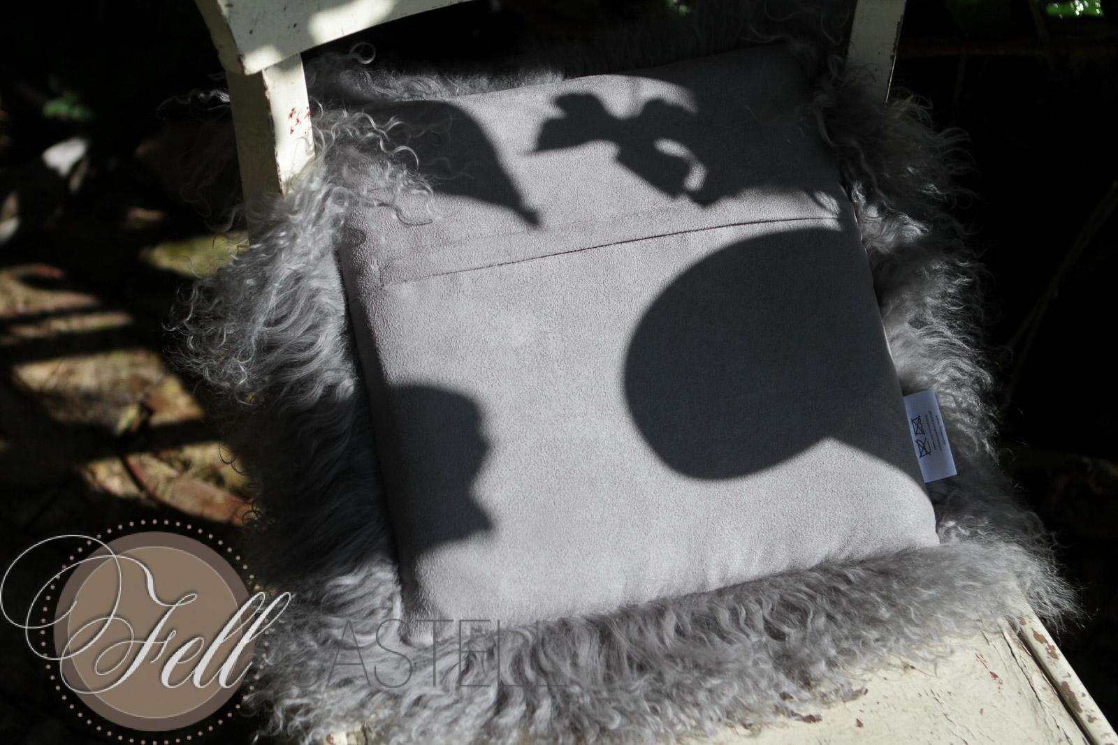 Stuhlkissen Tibetlammfell 30 x 30 cm gepolstert stone grey Sitzkissen